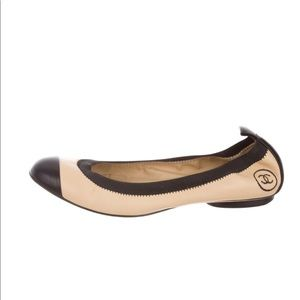 Chanel Tan Leather Cap Toe Ballet Flats